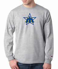 Seattle Mariners Throwback Champion LONG SLEEVE T-Shirt Mens Tagless T Shirt