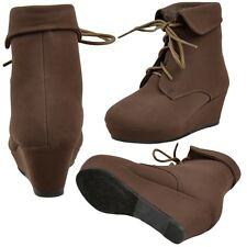 Girls Toddler Youth Lace Up Ankle Wedge Booties w/ Cuffed Collar Brown Sz 9-4