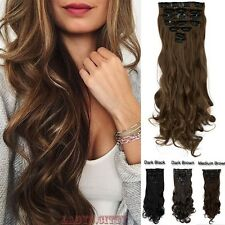 Brown Blonde Full Head 8pieces Clip in Hair Extensions Real Thick as Human fgp