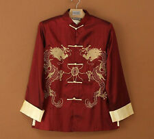Traditional Chinese Embroidery Dragon Men's Silk Party Jacket Coat Tops Burgundy