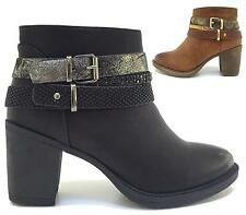LADIES WOMENS PLATFORM ZIP UP BUCKLE CHUNKY BLOCK HIGH HEEL ANKLE BOOTS SHOES