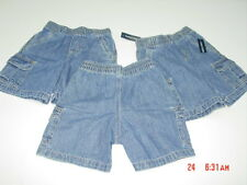 NWT 3 pairs of Toddler Boys Faded Glory Cargo Jean Shorts New Elastic Waistband