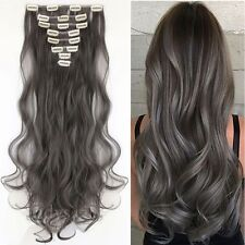 Popular Curly Full Head Clip in Hair Extensions Mix Blonde Brown Real Human 7FN