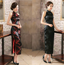 Women's Sleeveless Backless Silk Evening Dress Long Cheongsam Black Black/red