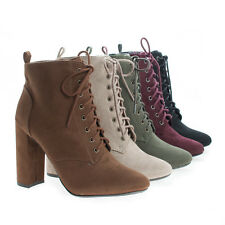 Eminent Almomd Toe Lace Up High Heel Ankle Boots