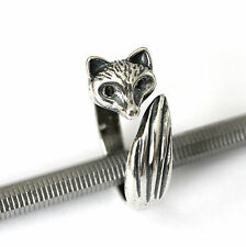 Silver Sideways Foxy Fox Wrap Ring Animal Hug Adjustable 384