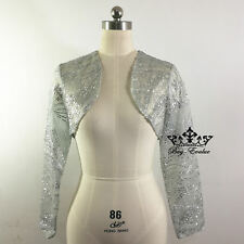 Silver Prom Wedding Jacket Bolero Evening Party Bridal Dress Coat new material