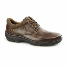 Rieker 19910-26 Mens Leather Wide Fit Lace-Up Comfort Smart Casual Shoes Brown