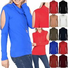 Womens Cold Shoulder Top Ladies Cowl Neck T Shirt Cut Out Stretchy Long Sleeve