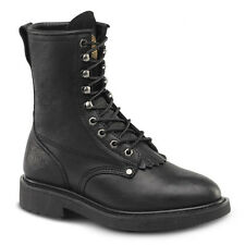 "Mens Black 8"" Kiltie Lacer Oiled Leather Work Boots BONANZA 817 Size 6-12 (D, M)"