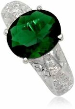 Simulated Emerald Ring Green Oval Stone 925 Sterling Silver