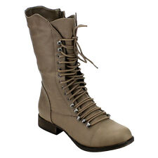 Breckelle's ED32 Women's Lace Up Zipper Military Combat Chunky Mid-Calf Boots