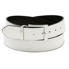Men's Belt Reversible Extra Wide Bonded Leather Silver-Tone Buckle WHITE / Black