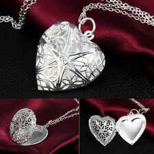 Hollow Pattern Heart Locket Chain Silver Plated Pendant Frame Charms Necklace