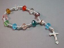 Pocket Rosary Bracelet MULTI COLOR Faceted Bead 1-Decade Travel Auto Silver Tone