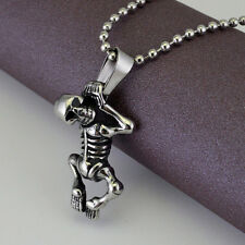 Gothic Punk Mens Skull Bull Head Necklace Totem Death Pendant Stainless Steel