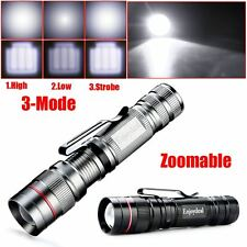 Brand CREE Q5 2000LM LED Zoomable Mini Flashlight Clip Torch Adjustable 3-mode