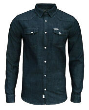 Soul Star Mens Zinc Denim Classic Slim Fit Retro Shirt Dark Blue