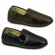 Dr Keller CHRISTOF Mens Soft Faux Leather Wide Fit Memory Foam Slip On Slippers