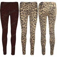 Womens Ladies Super Animal Leopard Full Ankle Length Trousers Pants Jeans Size