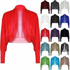 Womens Long Batwing Sleeves Ladies Jersey Bolero Cardigan Shrug Top Plus Sizes