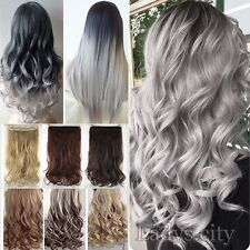 Hot women one peice 3/4 full head clip in hair extensions Brown Gray Piece F3d
