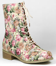 Pink Red Black Floral Lace Up Mid Calf Military Combat Boot Wild Diva