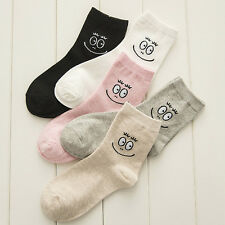 1/2pairs New Women Girls Cotton Ankle Socks Sports Cartoon Smiling Face Hosiery