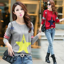 Korean Women Casual Knitted Pullover Sweater Long Sleeve Loose Tunic Tops Blouse