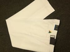NEW Mens Lawn Bowls BA Logo Trousers CITY CLUB Flexi Waist with Belt Loops CREAM