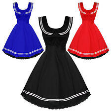Hearts & Roses London Vintage 50'S Nautical Sailor Rockabilly Swing Party Dress
