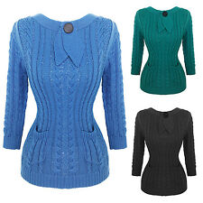 Womens Ladies New Vintage Retro 1940s 1950s Cable Knit Jumper Top UK