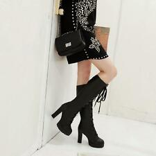 Ladies Women's Knee high boots lace up high Block heels Platform Shoes Size#