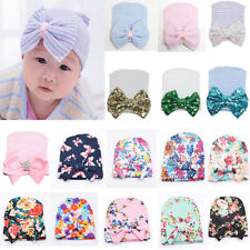 NEW Toddler Newborn  Infant Girls Baby Stripe Bowknot Beanie Hat Crochet  Cap US