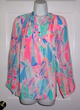 NWT LILLY PULITZER MULTI OUT TO SEA ELSA SILK TOP BLOUSE L XL