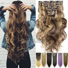 Full Head Real Thick Clip In Hair Extensions Long Curly Wavy 8 Pcs As Human T55