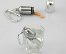 Bottle Holder Keychain Hot  Mini Aluminum Waterproof Pill Box Medicine Container
