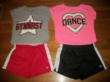 JUSTICE 2 PC DANCE OR GYMNAST TOP & SHORTS SET GIRLS ACTIVE OUTFIT SZ 12 14