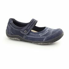 Earth Spirit LAWTON Ladies Nubuck Leather Touch Fasten Mary Jane Shoes Navy