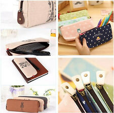 NEW Student Canvas Pen Pencil Case Coin Purse Storage Pouch Cosmetic Makeup Bag