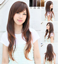 Womens Daily Costume Long Wavy Curly Full Wig Nature Brown/Black Synthetic Hair