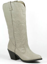 Stone Gray Faux Leather Western Embroidered Cowboy Knee High Boot Qupid