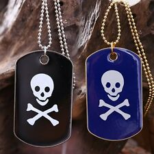 Men Boy Skull Military Army Style Black Blue Dog Tags Chain Pendant Necklace