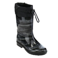 JELLY BEANS GE88 Unisex Boys Girls Camouflage Pattern Bungee Mid-Calf Rain Boots