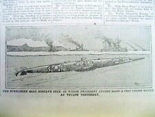 1901 newspaper w photo of the 1st French military submarine boat GUSTAVE ZEDE