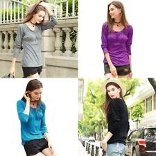Sexy Womens O-Neck Blouse Tops Long Sleeve T-Shirt Casual Tee Plus Size V7W4