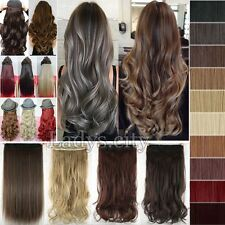 Long NEW 1 Piece Clip in Hair Extensions Full Head Curly Straight as Human TP