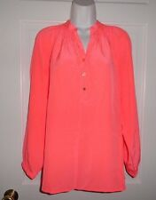 NWT LILLY PULITZER HOT CORAL ELSA SILK TOP BLOUSE M L