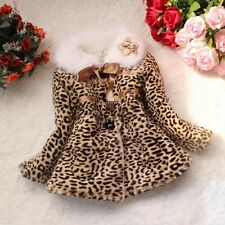 Kids Girls Baby Toddler Faux Fur Leopard Coat Jacket Snowsuit Clothing Outerwear