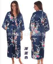 Navy Blue Women's Silk Long Style Robe Gown Bathrobe Kimono Sz: S M L XL 2XL 3XL